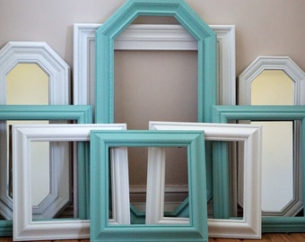 Mint Green and White Gallery Frames and Mirrors--Gallery Wall--Painted Frames--Wall Decor