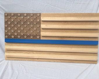 American flag thin blue line challenge coin shelf