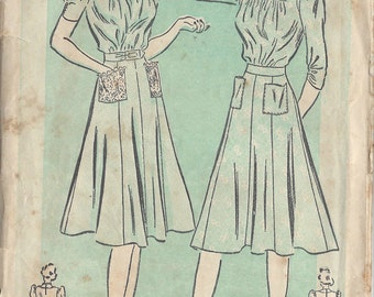 "1940s Vintage Sewing Pattern B32"" DRESS (113) Advance 2466"