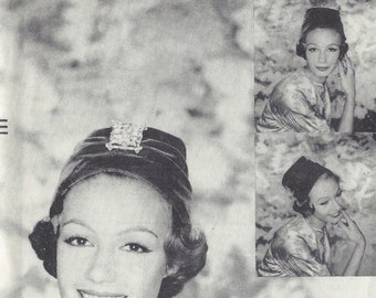 """1957 Vintage VOGUE Sewing Pattern HAT S21 1/2"""" (1210) By Sally Vctlor  Vogue 9327"""