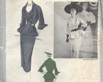 "1951 Vintage VOGUE Sewing Pattern B30"" SUIT-SKIRT & Jacket (79) By Patou  Vogue 1140"