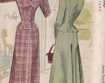 "1946 Vintage Sewing Pattern B33"" Two-Piece Suit Dress (239) McCall 7180"