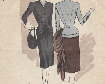 1940s WW2 Vintage VOGUE Sewing Pattern B34 Suit-Jacket & Skirt (1109)  Vogue 284