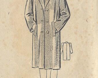 """1942 Vintage Sewing Pattern B34"""" COAT (R627) Bestway C.20,896"""