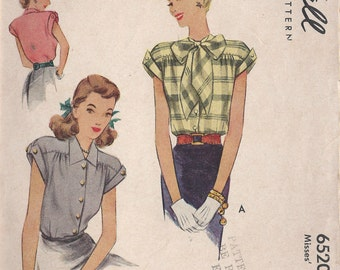 1946 Vintage Sewing Pattern B34 BLOUSE (1095) McCall 6520