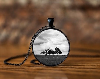Tree Silhouette Photo Necklace - Nature Jewelry- Tree Pendant - Tree Branches Jewelry - Black and White Necklace - Silhouette Necklace