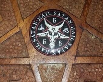 Hail Satan 1 inch pin button  Pentagram