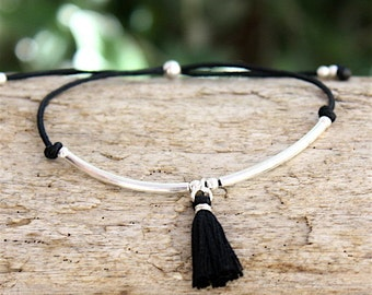 Bracelet cord tassel and sterling silver beads and rushes