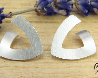 Earrings silver, triangle, 15 mm, stroke Matt, handmade