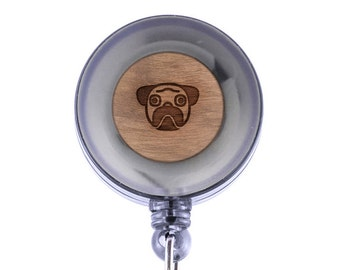 Pug Badge Holder with Retractable Reel, Badge Holder, Personalized Badge Holder, Corporate Gifts