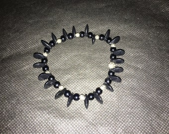 Black Small Beaded Bracelet with Silver