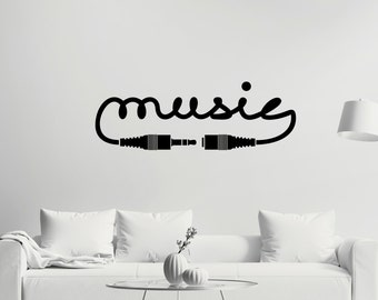 Music Headphones Quote Wall Decal Mural Art For Home
