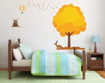 Hot Air Balloon Bird Tree Mill - Christmas Time - Mural Wall Decal Sticker For Home Car Laptop