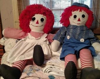 "PAIR Wonderful 32"" Handmade Raggedy Ann AND Andy Dolls 1984"