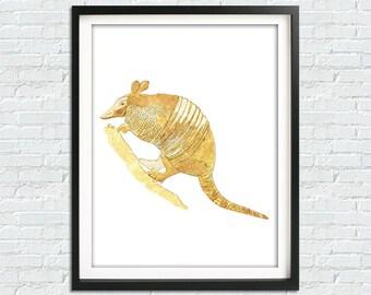 Gold Armadillo Print, Texas Art, Armadillo Art Print, Armadillo Poster,  Gold Home Decor, DIY Print, Downloadable Print, Animal Poster