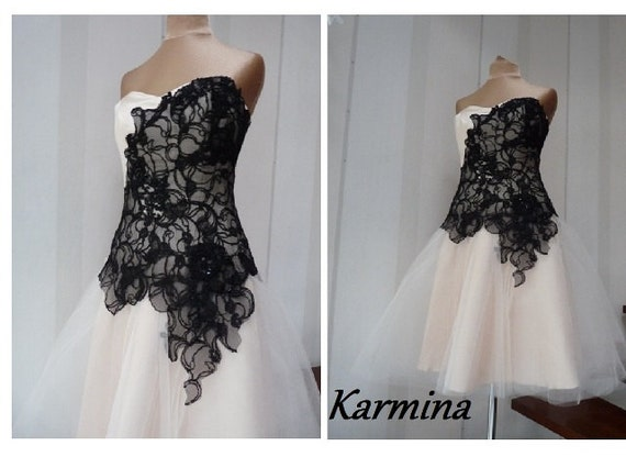 Beige Bridesmaid Dresses Style R101 Short: Karmina Black And Beige Prom Dress Tulle Bridesmaid Dress