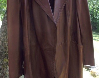 Vintage long jacket leather brown coat man three quarter light brown leather coat man Cortefiel