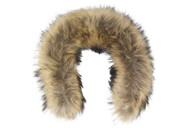 Raccoon Fur Hood trim, fur trim   (natural color)