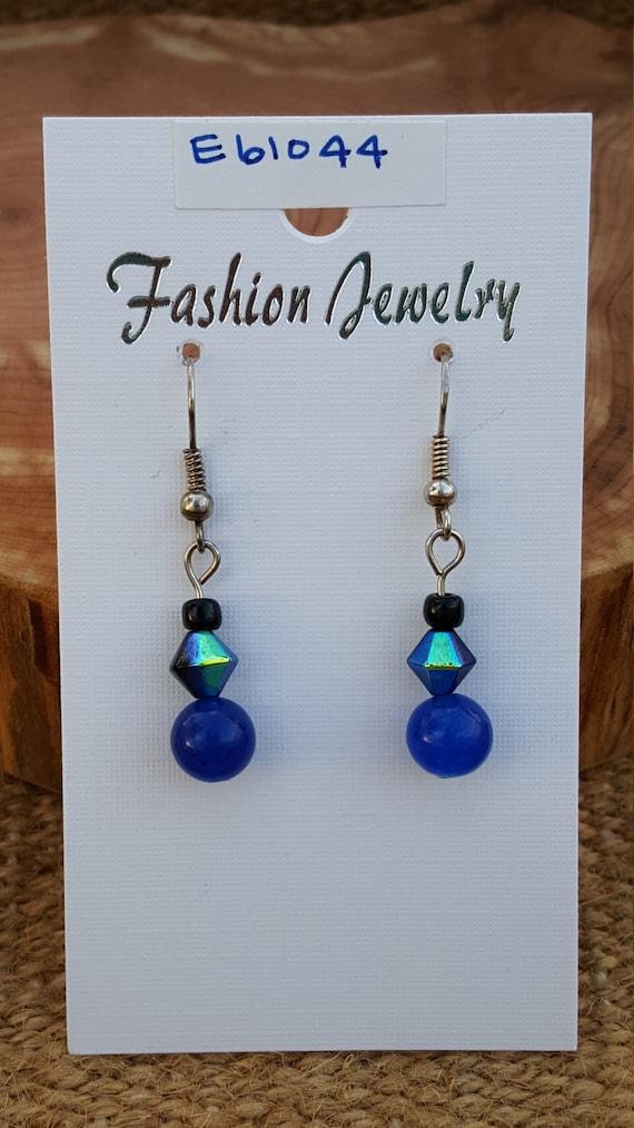 Navy Blue Earrings / Blue Earrings / Navy Earrings / Dangle Earrings / Hippie Earrings / Boho Jewelry /E61044