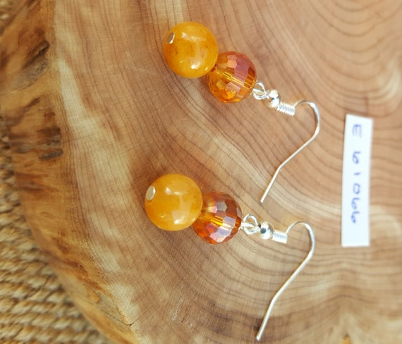 Amber Tone Stone Earrings / Amber Tone Earrings / Beveled Cut Earrings / Dangle Earrings / Hippie Earrings / Boho Jewelry /E61066