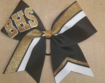 Custom cheer bow, you pick colors, team cheer bows, big softball bow, big cheer bow, glitter cheer bow, black and gold cheer bow