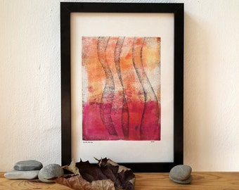 Original monoprint, abstract monotype, original artwork, modern art, print art, summer colors, contemporary art, wave lines, linoprint