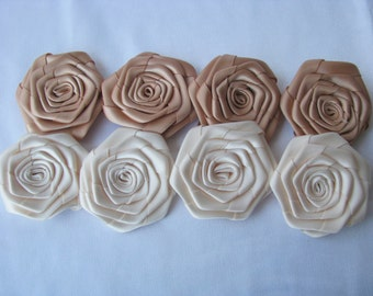 Round satin roses, DIY brooch bouquet, cheap satin roses, wholesales