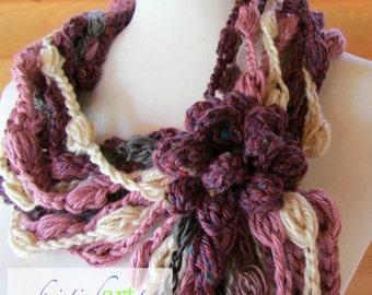 Burgundy Necklace / Handmade Crochet / Women's Gift Idea / Collar / Cowl / Acrylic / Unique / Pink / Gray / Beige