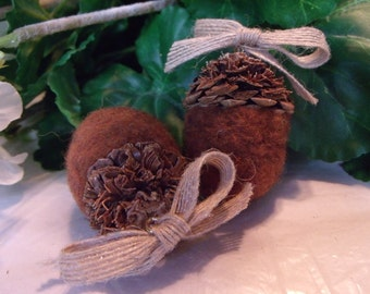 Needle Felted Acorns with a Pine Cone Cap