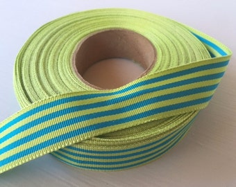 "7/8"" (23mm) preppy lime&blue stripes grosgrain ribbon"