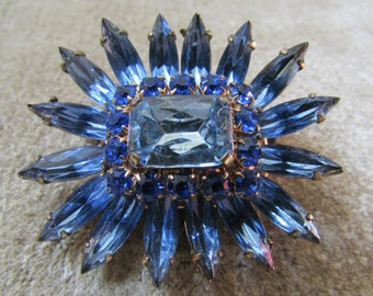 Laurie Beautiful Blue Schreiner Style Brooch Wedding Bridal Something Blue