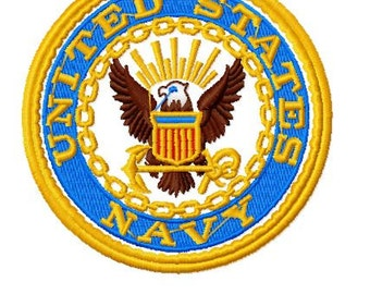 US Navy Logo Machine Embroidery Design, Instant Download, 4x4 Hoop, 6 Formats