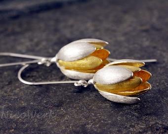 Silver earrings flower ladies jewelry earrings ear jewelry 925 gift SOR107