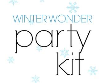 Winter Wonderland birthday Party Kit! Frozen themed Party in a Box! Christmas Birthday Party, Winter party supplies