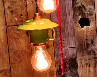 Upcycled 3oz Espresso cup pendant light