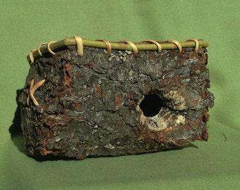 Folded Pine Bark Basket with Rim