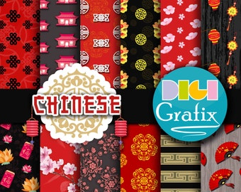 Chinese Digital Paper - Chinese Clipart, Asian Digital Paper, Printable Paper, Chinese Birthday Party, Chinese Printables, Oriental
