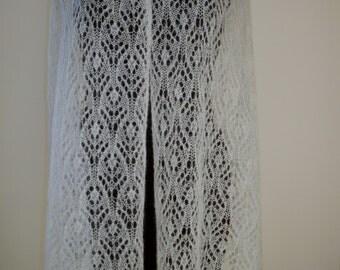 Lace mohair shawl, white. Handmade