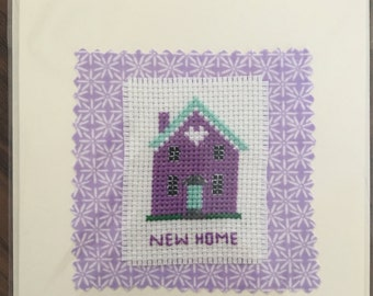 Handmade 'New Home' card with cross stitched house detail. Blank inside for your own message.