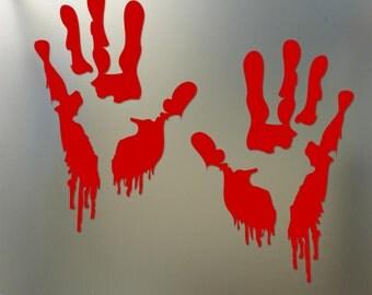 Bloody zombie hand print sticker walking dead Halloween Funny car window decal