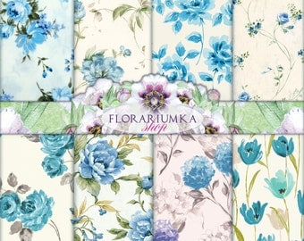 Mint Tulip Decoupage Download. Vintage Scrapbook Download. Shabby Floral Digital Paper. Floral Backgrounds. Tulip Digital F-75