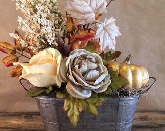 Bronze Pumpkin Flower Arrangement