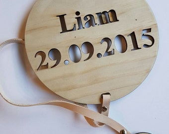 Personalised Name Plaque with leather