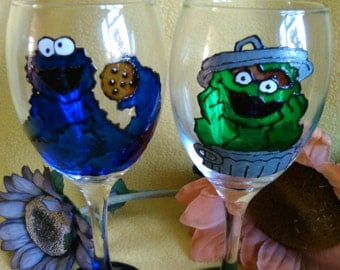 Hand Painted, Sesame Street, Cookie Monster, and Oscar the Grouch, Wine Glass Set