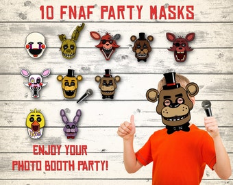 FNAF masks, FNAF photo booth, Five Nights at Freddy's masks, Photo party booth! 10 different masks + microphone!
