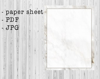 PRINTABLE paper sheet / writing paper / stationery - marble