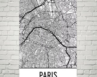 Paris Print, Paris Art, Paris Decor, Paris Wall Art, Paris Map, Paris France Poster, Map of Paris, Paris Gift, Birthday, Decor, Modern