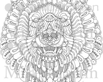 Printable Ornate Grizzly Bear Instant download adult colouring page