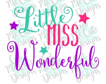 SVG DXF PNG cut file cricut silhouette cameo scrap booking Little Miss Wonderful Baby Girl