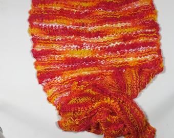 Knitted merino Scarf-Orange/Red/Yellow